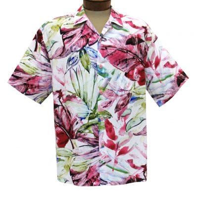 Men's Jams World Short Sleeve Original Crushed Rayon Retro Aloha Shirt, Wind Palm