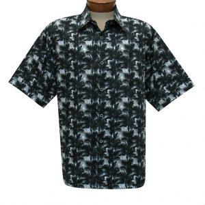 Men's Justin Harvey Short Sleeve Classic Fit Super Soft Cotton Sport Shirt, Moonlight Palms #ZW136 Black (XL & XXL, ONLY!)