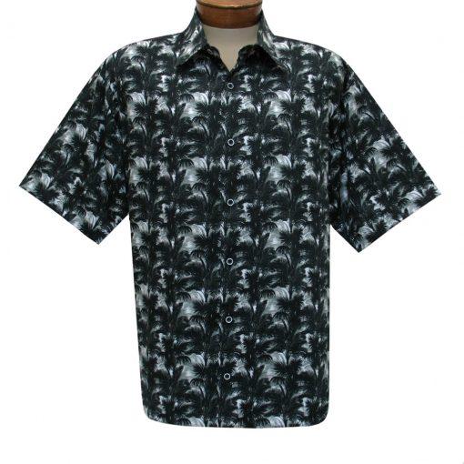 Men's Justin Harvey Short Sleeve Classic Fit Super Soft Cotton Sport Shirt, Moonlight Palms #ZW136 Black