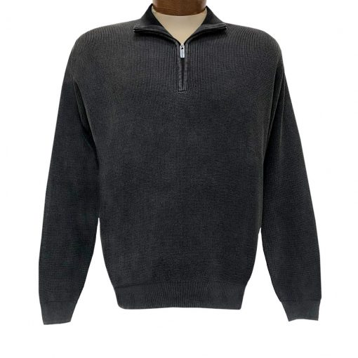 Men's F/X Fusion Sweater 100% Cotton Baby Thermal Sand Washed 1/4 Zip Mock Neck Sweater #806 Black