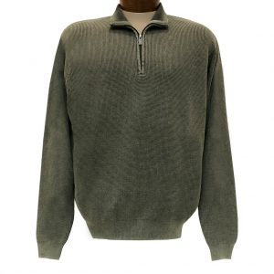 Men's F/X Fusion Sweater 100% Cotton Baby Thermal Sand Washed 1/4 Zip Mock Neck #806 Sage