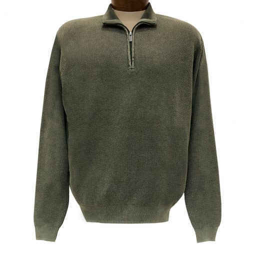 Men's F/X Fusion Sweater 100% Cotton Baby Thermal Sand Washed 1/4 Zip Mock Neck Sweater #806 Sage