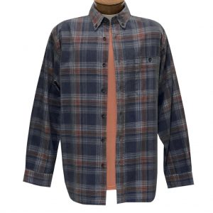 Men's Basic Options Corduroy Long Sleeve Yarn Dyed Plaid Shirt, #82044-3B Navy (L & XL, ONLY!)