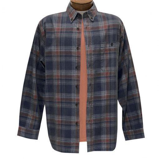 Men's Basic Options Corduroy Long Sleeve Yarn Dyed Plaid Shirt, #82044-3B Navy