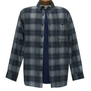 Men's Basic Options Corduroy Long Sleeve Yarn Dyed Plaid Shirt, #81043-23B Charcoal With Navy (M & L, ONLY!)