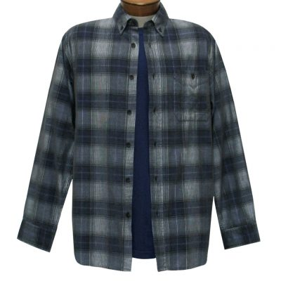 Men's Basic Options Corduroy Long Sleeve Yarn Dyed Plaid Shirt, #81043-23B Charcoal With Navy