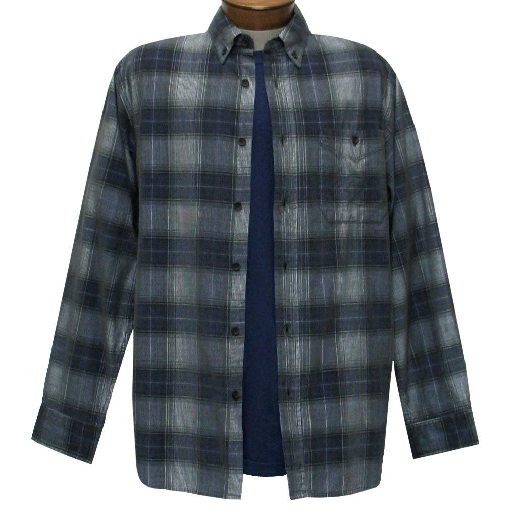 Men's Basic Options Corduroy Long Sleeve Yarn Dyed Plaid Shirt, #81043-23B Charcoal With Navy
