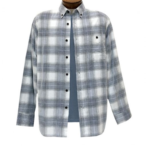 Men's Basic Options Corduroy Long Sleeve Yarn Dyed Plaid Shirt, #81043-23C White With Navy