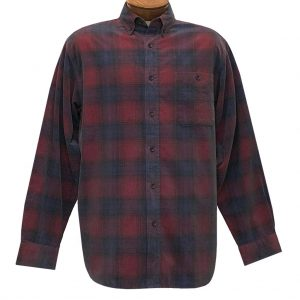 Men's Basic Options Corduroy Long Sleeve Yarn Dyed Plaid Shirt, #81043-5A Red With Navy (M & L, ONLY)