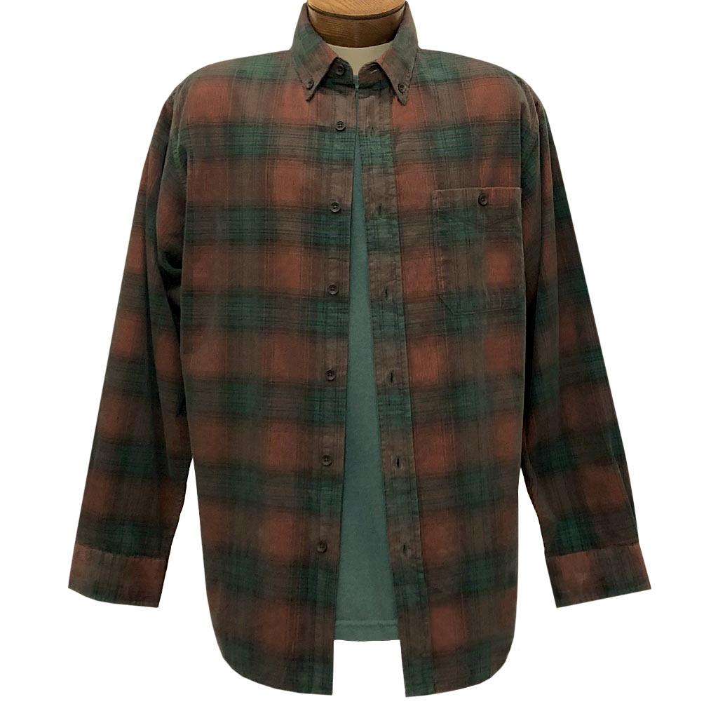 Men's Basic Options Corduroy Long Sleeve Yarn Dyed Plaid Shirt, #81043-6A Rust With Hunter