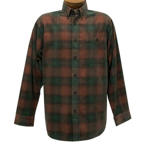 Men's Basic Options Corduroy Long Sleeve Yarn Dyed Plaid Shirt, #81043-6A Rust With Hunter