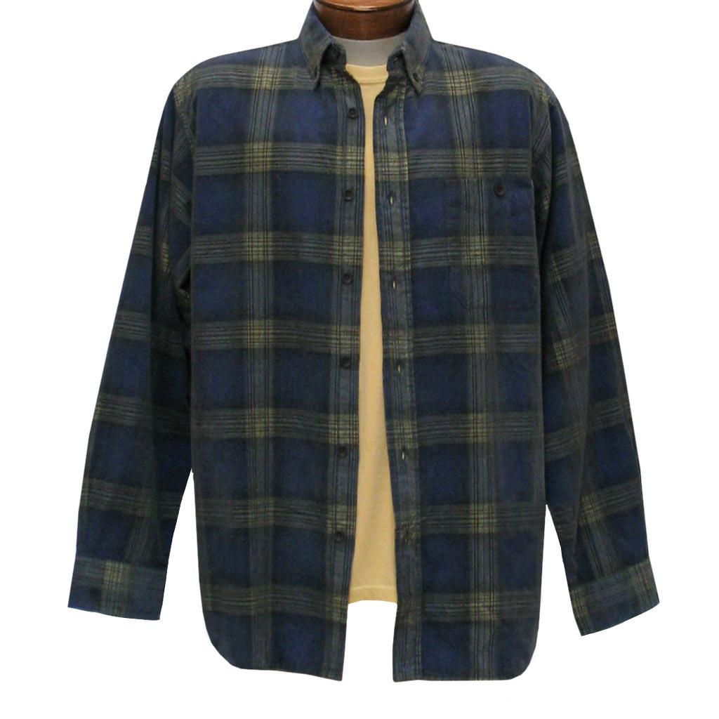 Men's Basic Options Corduroy Long Sleeve Yarn Dyed Plaid Shirt, #81043-83B Navy With Yellow