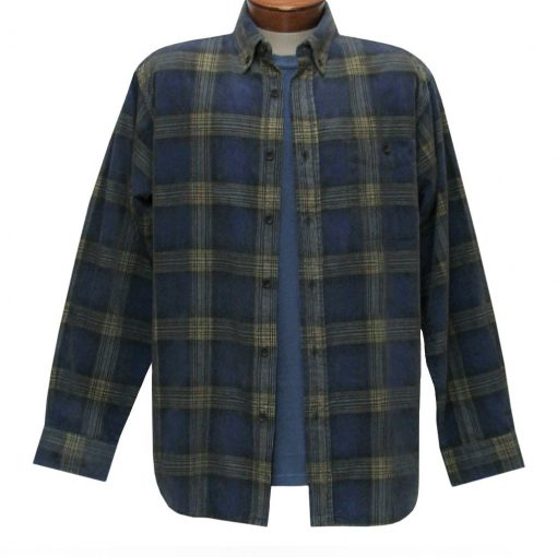 Men's Basic Options Corduroy Long Sleeve Yarn Dyed Plaid Shirt, #81043-83B Navy With Yellow