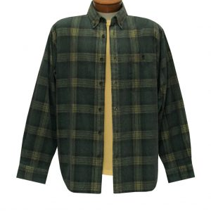 Men's Basic Options Corduroy Long Sleeve Yarn Dyed Plaid Shirt, #81043-84E Hunter With Yellow (L, ONLY!)