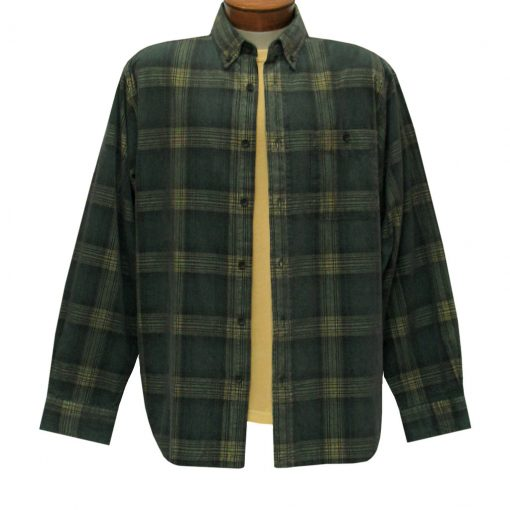 Men's Basic Options Corduroy Long Sleeve Yarn Dyed Plaid Shirt, #81043-84E Hunter With Yellow