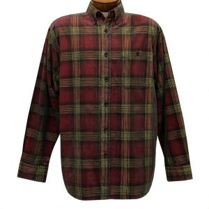 Men's Basic Options Corduroy Long Sleeve Yarn Dyed Plaid Shirt, #81043-85E Red With Yellow (M & L, ONLY!)