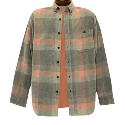 Men's Basic Options Corduroy Long Sleeve Yarn Dyed Plaid Shirt, #81845-25C Dusty Multy