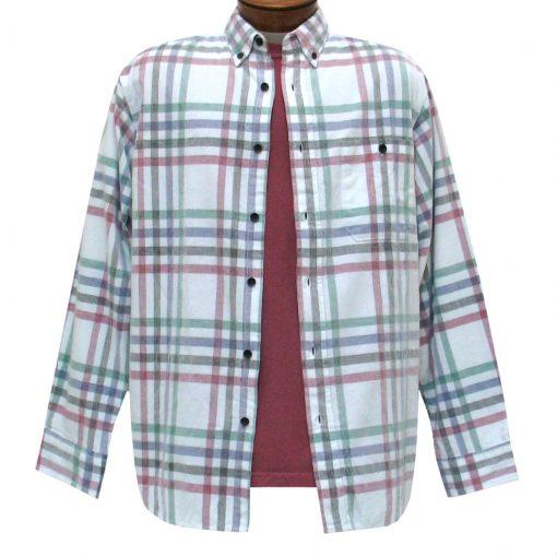 Men's Basic Options Corduroy Long Sleeve Yarn Dyed Plaid Shirt, #81941-12B White With Navy