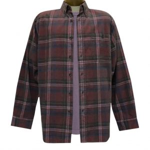 Men's Basic Options Corduroy Long Sleeve Yarn Dyed Plaid Shirt, #82044-9C Merlot