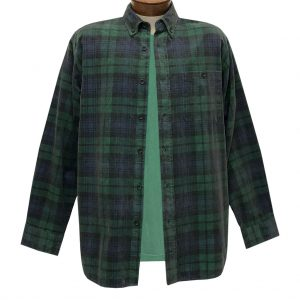 Men's Basic Options Corduroy Long Sleeve Yarn Dyed Plaid Shirt, #82045-4A Hunter With Navy (M & L, ONLY)