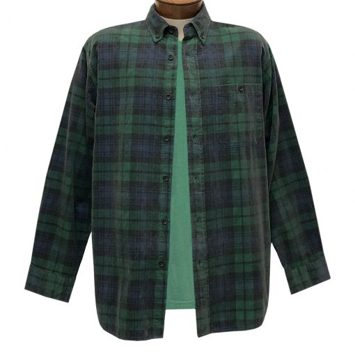 Men's Basic Options Corduroy Long Sleeve Yarn Dyed Plaid Shirt, #82045-4A Hunter With Navy