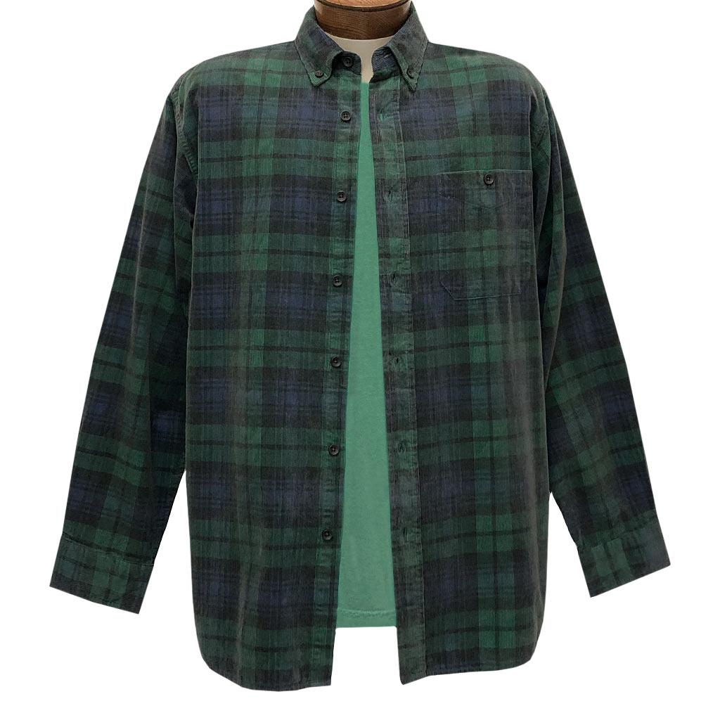 Men's Basic Options Corduroy Long Sleeve Yarn Dyed Plaid Shirt, #82045-4A Hunter With Navy