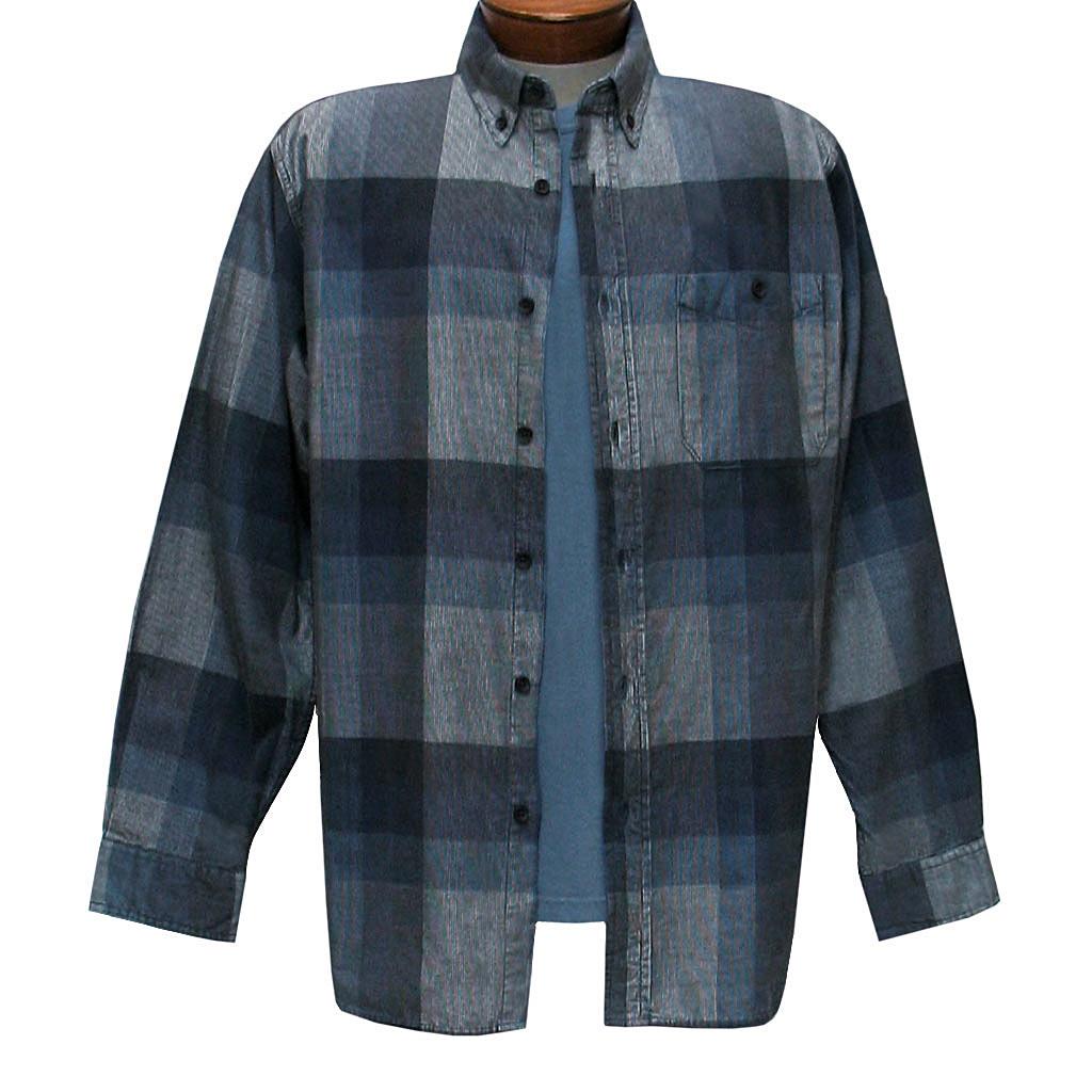 Men's Basic Options Corduroy Long Sleeve Yarn Dyed Plaid Shirt, #81845-23C Gray With Medium Blue