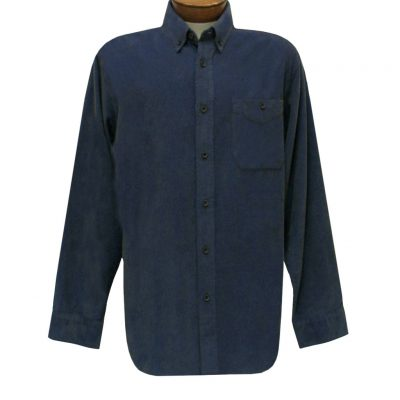 Men's Basic Options Long Sleeve Yarn Dyed Solid Corduroy Shirt, #82060-3 Indigo