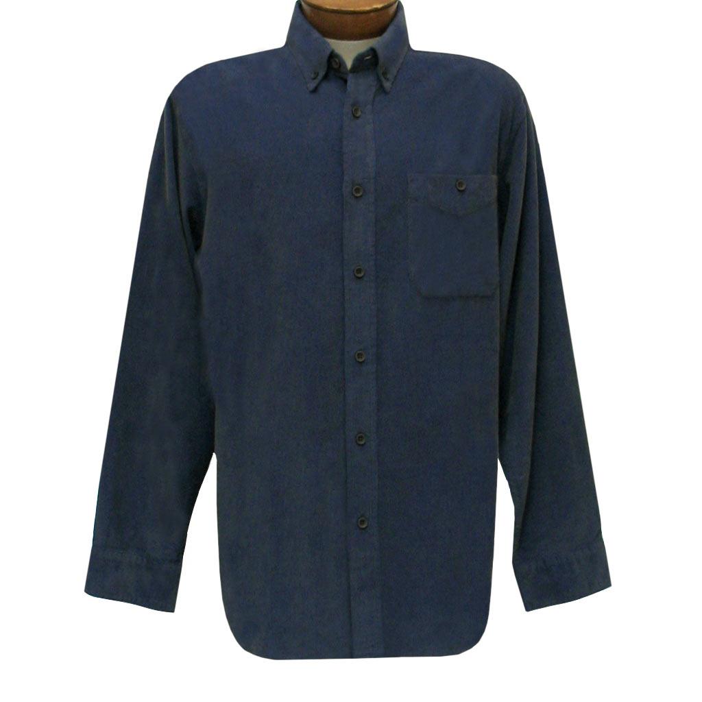 Men's Basic Options Long Sleeve Yarn Dyed Solid Corduroy Shirt, #82060-3 Indigo