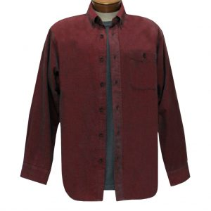 Men's Basic Options Long Sleeve Yarn Dyed Solid Corduroy Shirt, #82060-5 Crimson