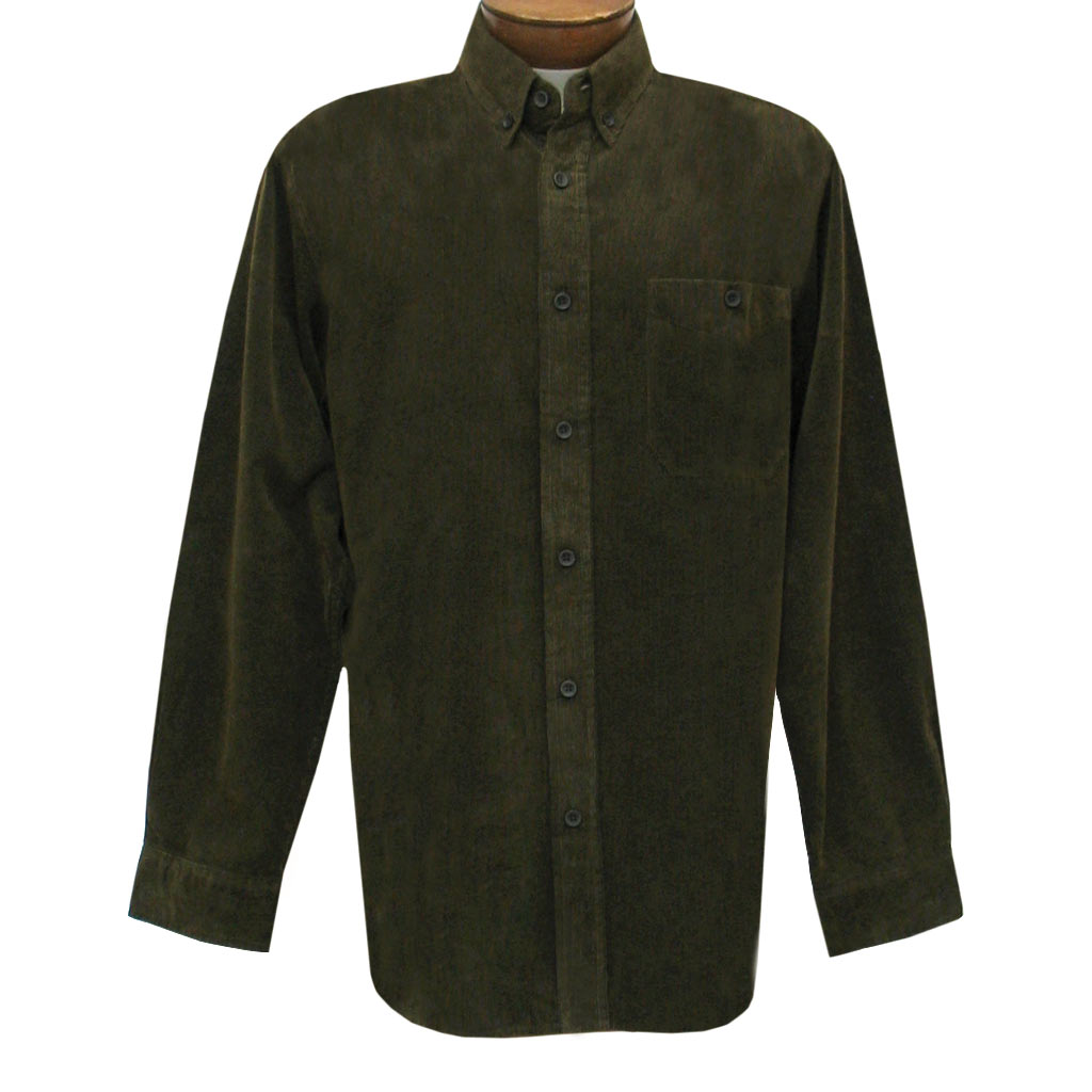 Men's Basic Options Long Sleeve Yarn Dyed Solid Corduroy Shirt, #82060-9 Brown/Olive