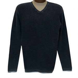 Men's F/X Fusion Sweater 100% Cotton Baby Thermal Sand Washed V-Neck #3001 Black (XXL, ONLY!)