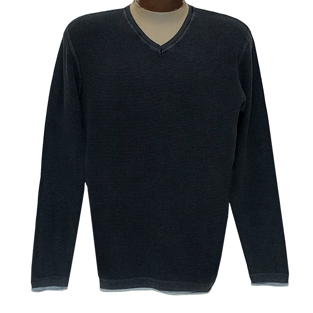 Men's F/X Fusion Sweater 100% Cotton Baby Thermal Sand Washed V-Neck #3001 Black