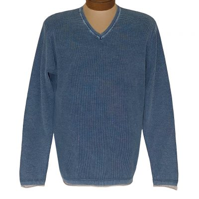 Men's F/X Fusion Sweater 100% Cotton Baby Thermal Sand Washed V-Neck #3001 Indigo