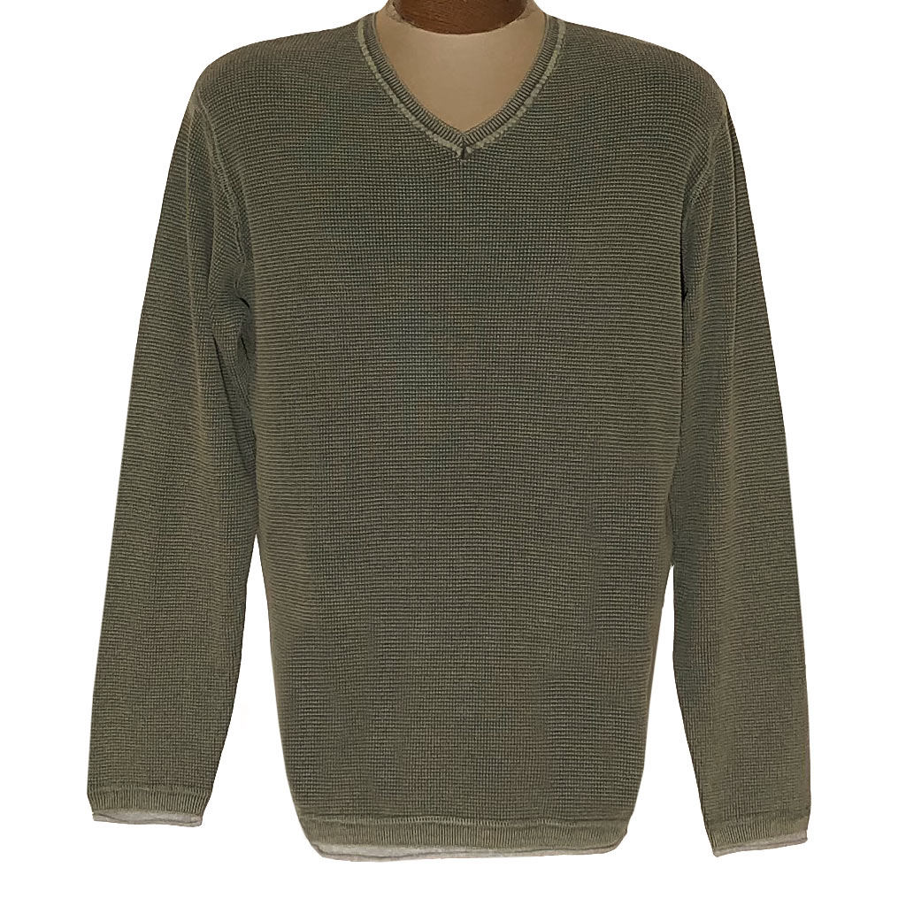 Men's F/X Fusion Sweater 100% Cotton Baby Thermal Sand Washed V-Neck #3001 Sage
