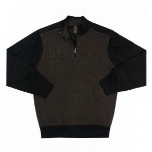 Men's F/X Fusion 1/4 Zip Herringbone Mock Neck Sweater With Faux Suede Trim #3017 Brown