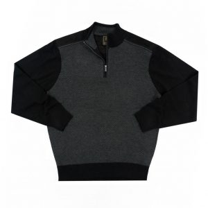 Men's F/X Fusion 1/4 Zip Herringbone Mock Neck Sweater With Faux Suede Trim #3017 Charcoal (M, ONLY!)