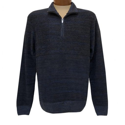 Men's F/X Fusion 1/4 Zip Mock Neck Textured Novelty Long Sleeve Sweater #3018 Navy
