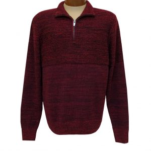 Men's F/X Fusion 1/4 Zip Mock Neck Textured Novelty Long Sleeve Sweater #3018 Red (XL, ONLY!)