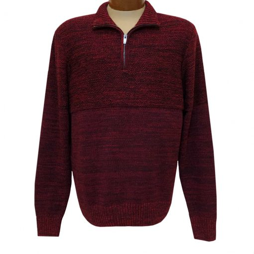 Men's F/X Fusion 1/4 Zip Mock Neck Textured Novelty Long Sleeve Sweater #3018 Red