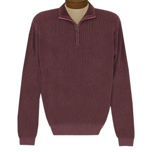 Men's F/X Fusion Sweater 100% Cotton Baby Thermal Sand Washed 1/4 Zip Mock Neck #806 Burgundy