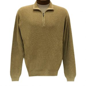 Men's F/X Fusion Sweater 100% Cotton Baby Thermal Sand Washed 1/4 Zip Mock Neck #806 Caramel