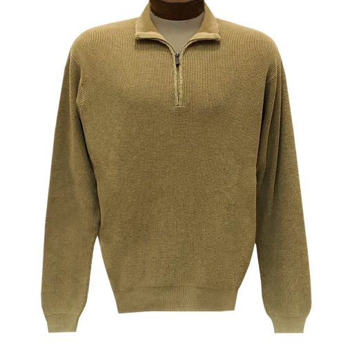 Men's F/X Fusion Sweater 100% Cotton Baby Thermal Sand Washed 1/4 Zip Mock Neck Sweater #806 Caramel