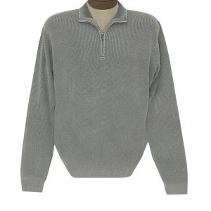 Men's F/X Fusion Sweater 100% Cotton Baby Thermal Sand Washed 1/4 Zip Mock Neck #806 Grey (M & XXL, ONLY!)