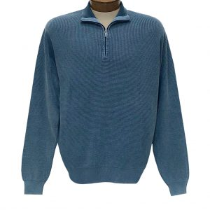 Men's F/X Fusion Sweater 100% Cotton Baby Thermal Sand Washed 1/4 Zip Mock Neck #806 Indigo