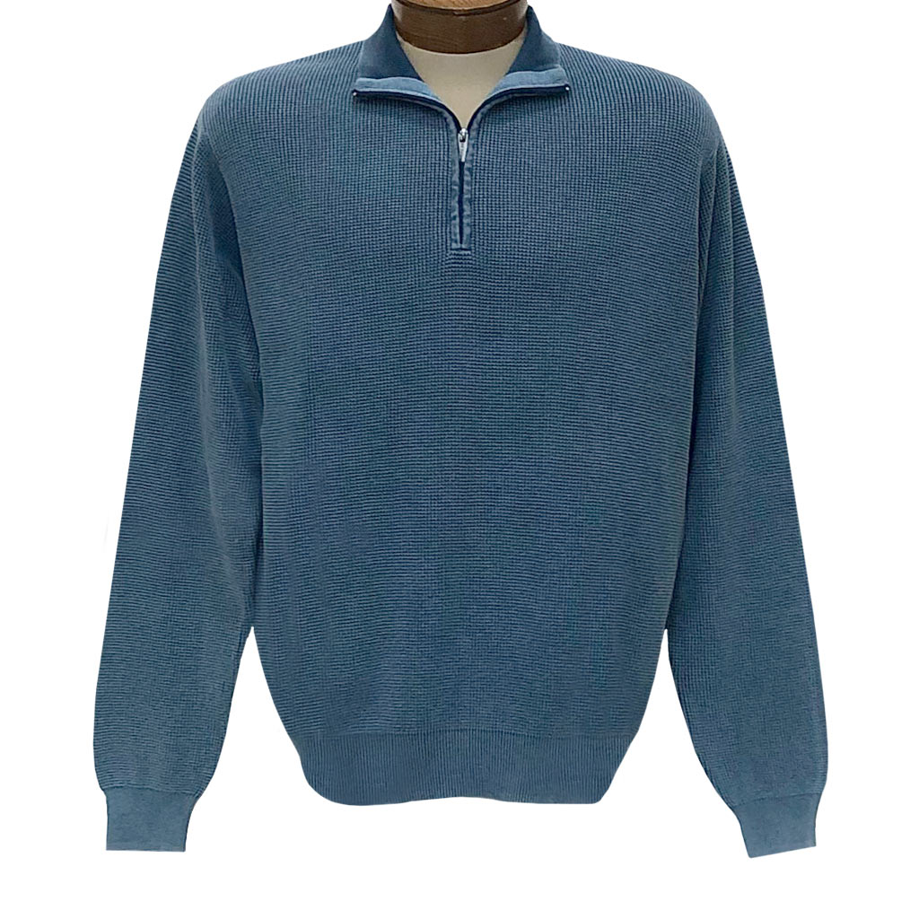 Men's F/X Fusion Sweater 100% Cotton Baby Thermal Sand Washed 1/4 Zip Mock Neck Sweater #806 Indigo