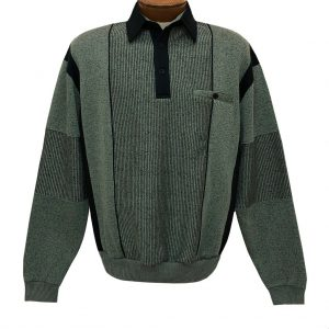 Men's Classics By Palmland Long Sleeve Vertical Fleece Pieced Banded Bottom Shirt 6094-165B Lawn Green