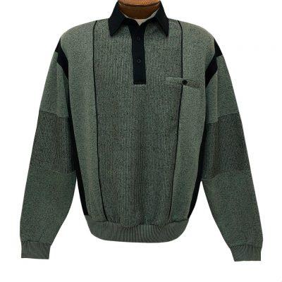 Mens Classics By Palmland Long Sleeve Vertical Fleece Pieced Banded Bottom Shirt 6094-165B Lawn Green