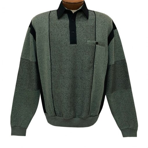 Mens Classics By Palmland Long Sleeve Vertical Fleece Pieced Banded Bottom Shirt 6094-165B Lawn Green