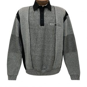 Men's Classics By Palmland Long Sleeve Vertical Fleece Pieced Banded Bottom Shirt 6094-165B Medium Grey (M & L, ONLY!)
